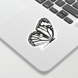 Monarch Butterfly | Left Butterfly Wing | Vintage Butterflies | Black and White | Sticker
