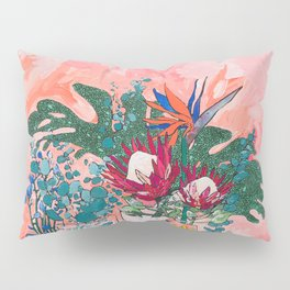 Cockatoo Vase - Bouquet of Flowers on Coral and Jungle Pillow Sham