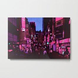 Neon nightlife street digital oil photo edit Metal Print
