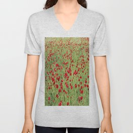 A Pasture Of Red Poppies and Remembrance Unisex V-Neck