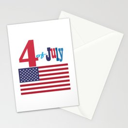 4th of July Happy Independence Day Patriotic American flag & stars Stationery Cards