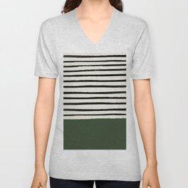 Forest Green x Stripes Unisex V-Neck