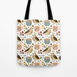 Birds, Teacups, and Flowers Tote Bag