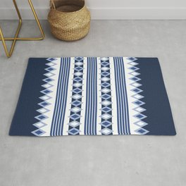 Blue stripes and diamonds pattern Rug