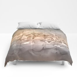 Blushing Silver and Gold Peony - Floral Comforters