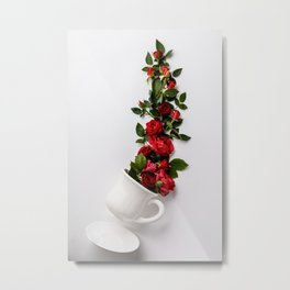White cup with red roses Metal Print