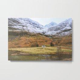 Cottage under the mountain, Scotland, UK | Nature Landscape Travel Photography | Wall Art Decor Metal Print