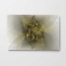Folds In Black and Gold Metal Print