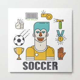 Soccer (football) player with sports elements Metal Print