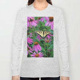 495 - Butterfly and Flowers Long Sleeve T-shirt