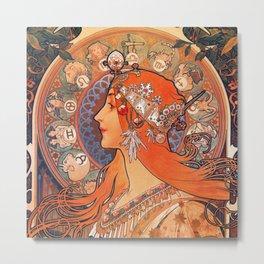 Alphonse Mucha Cycles Perfecta Metal Print