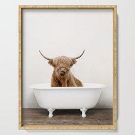 Highland Cow in a Vintage Bathtub (c) Serving Tray