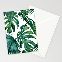 Classic Palm Leaves Tropical Jungle Green Stationery Cards