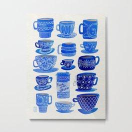 Blue Teacups and Mugs Metal Print
