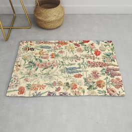 Vintage Floral Drawings // Fleurs by Adolphe Millot XL 19th Century Science Textbook Artwork Rug
