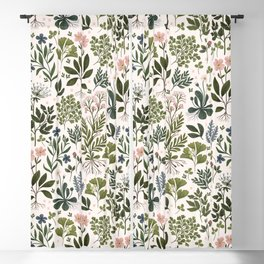Herbarium ~ vintage inspired botanical art print ~ white Blackout Curtain