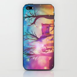 Girl meeting magical forest animals iPhone Skin