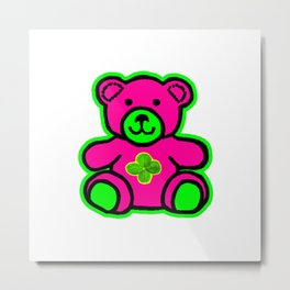 My Lucky Teddy jGibney The MUSEUM Magenta Society6 Gifts Metal Print
