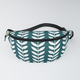 Teal Blue and White Scandinavian leaves pattern Fanny Pack