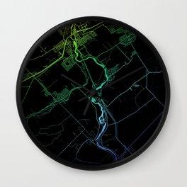 Levis, QC, Canada, City, Map, Rainbow, Map, Art, Print Wall Clock