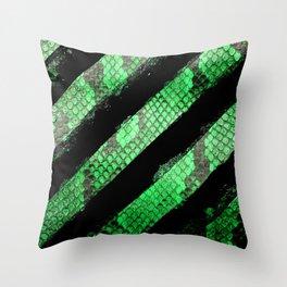 Green Snakeskin Glitch Throw Pillow