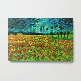 Classical Masterpiece 'Field of Poppies' by Vincent van Gogh Metal Print