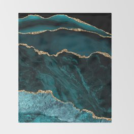 Teal Blue Emerald Marble Landscapes Throw Blanket