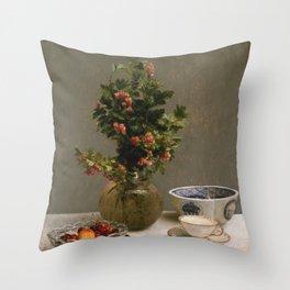 Henri Fantin Latour - Still Life With Vase Of Hawthorn Throw Pillow
