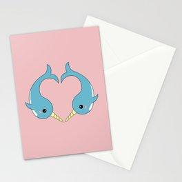 Narwhal heart Stationery Cards