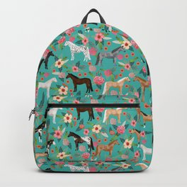 Horses floral horse breeds farm animal pets Backpack