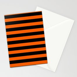 Black & Orange Stripes Stationery Cards