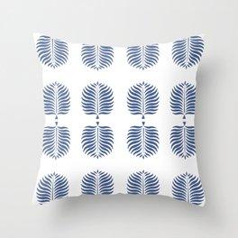 TROPICAL PALMS . WHITE + BLUE Throw Pillow