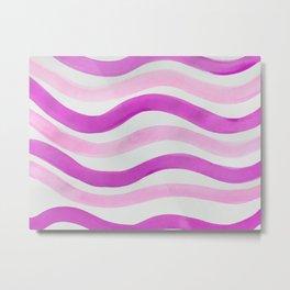 Pink Watercolor Wave Metal Print