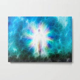 Figure emerges from light Metal Print