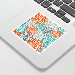 Floral Pattern, Abstract, Orange, Teal and Gray Sticker