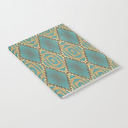 Teal Turquoise Khaki Brown Rustic Mosaic Pattern Notebook
