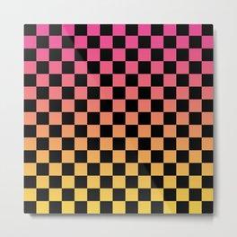 Pink Yellow Checkerboard Gradient Metal Print