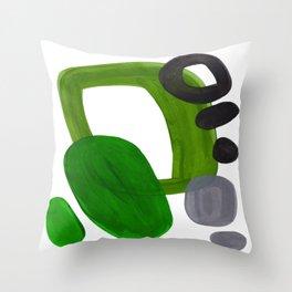 Mid Century Vintage 70's Design Abstract Minimalist Colorful Pop Art Olive Green Dark Green Grey Throw Pillow