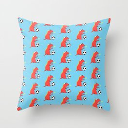 Blue Cartoon Dinosaur Soccer Pattern Throw Pillow