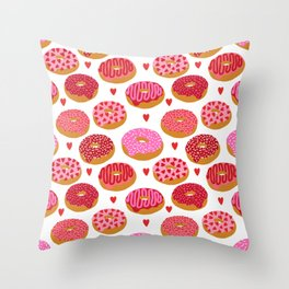 Red donuts pattern with hearts gifts to say i love you on valentines day Throw Pillow