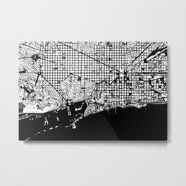 Barcelona city map black and white Metal Print