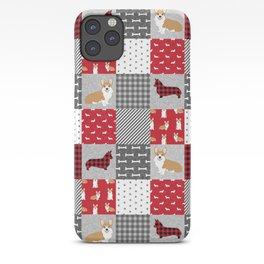 Corgi Patchwork Print - red, dog, buffalo plaid, plaid, mens corgi dog iPhone Case