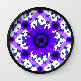 PURPLE FLORALS TEAL BUTTERFLY WHITE PATTERNS Wall Clock