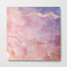 Blush and Purple Sky with Rose gold flashes Metal Print
