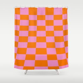 Warped perspective coloured checker board effect grid illustration orange and pink Shower Curtain