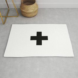 Swiss Cross white and black Swiss Design for minimalist home room wall art decor for apartment Rug