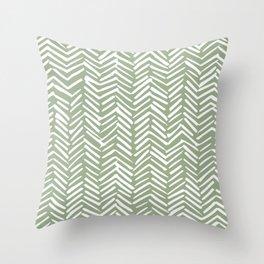 Boho Herringbone Pattern, Sage Green and White Throw Pillow