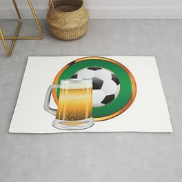 Beer and Soccer Ball in green circle Rug