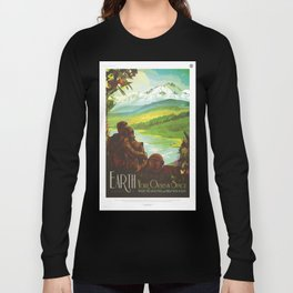 Earth Retro Space Poster Long Sleeve T-shirt
