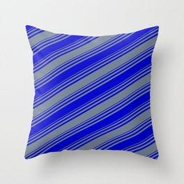 Blue & Slate Gray Colored Stripes Pattern Throw Pillow